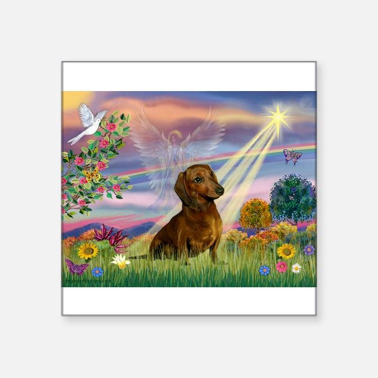 "Cute Dachshund dog Square Sticker 3"" x 3"""