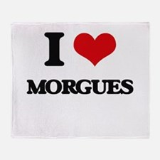 I Love Morgues Throw Blanket