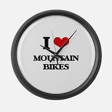I Love Mountain Bikes Large Wall Clock