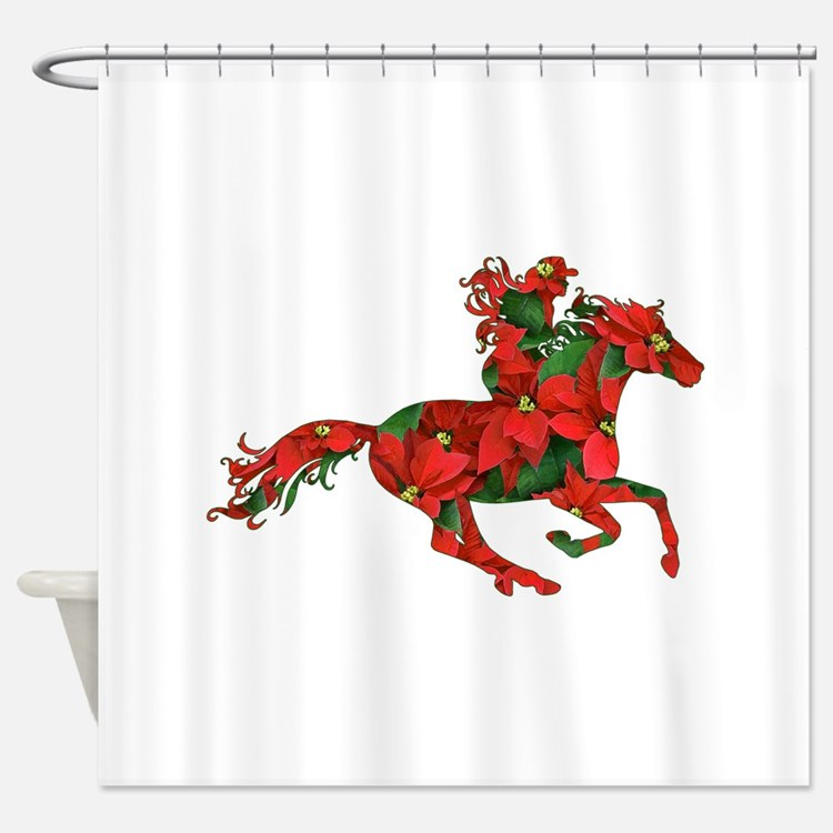 Horse Christmas Shower Curtains