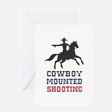 COWBOY MOUNTED SHOOTING Greeting Cards
