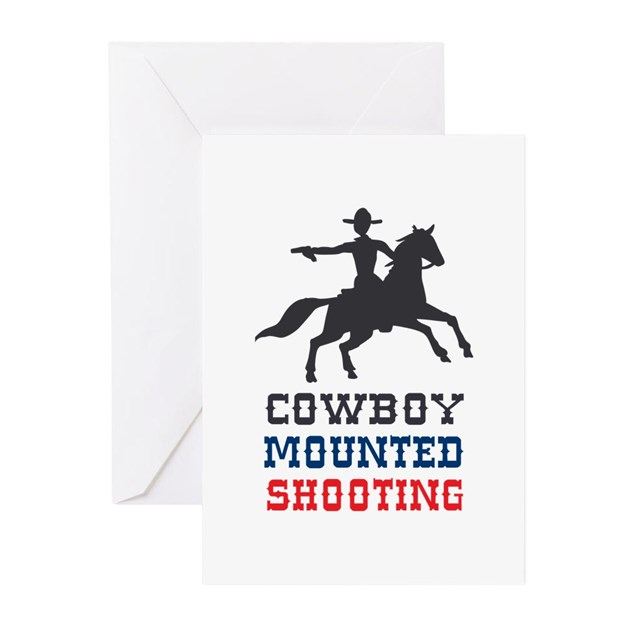 COWBOY MOUNTED SHOOTING Greeting Cards by Greatnotions1