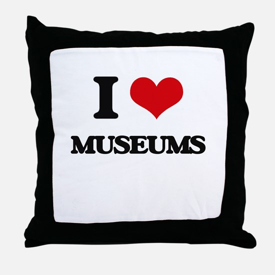 I Love Museums Throw Pillow