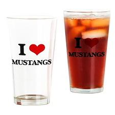 I Love Mustangs Drinking Glass