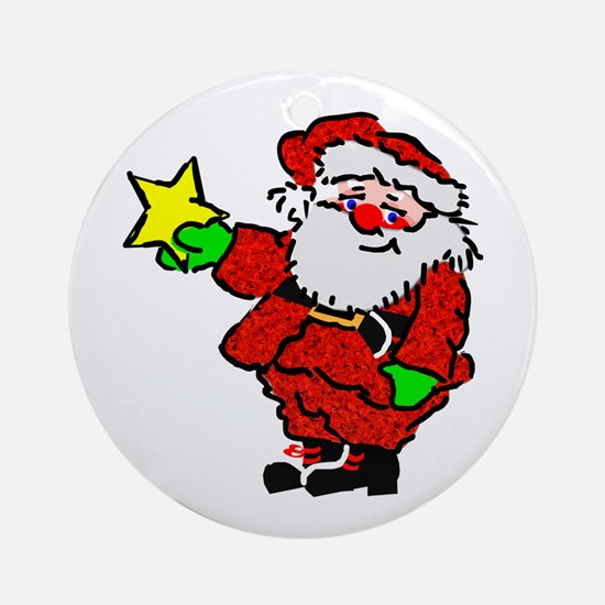 Santa Claus with Star Ornament (Round)