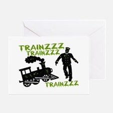 Zombie Train Conductor Greeting Card
