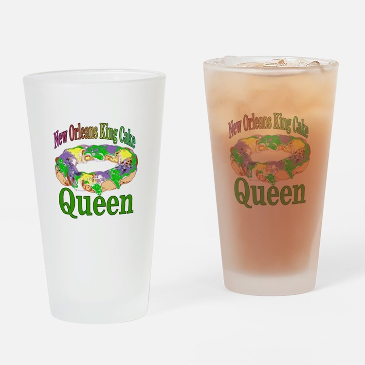 King Cake Queen Drinking Glass