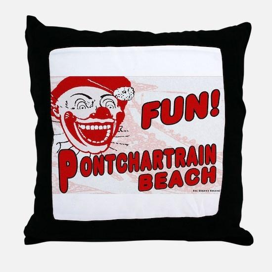 Pontchartrain Beach Clown Throw Pillow