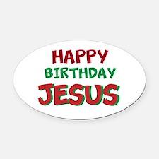 Happy Birthday Jesus Oval Car Magnet