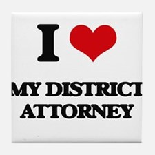 I Love My District Attorney Tile Coaster