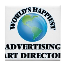 World's Happiest Advertising Art Dire Tile Coaster