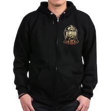 Fahrenheit 451 Fireman Grunge Zip Hoodie