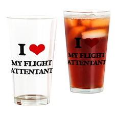 I Love My Flight Attentant Drinking Glass