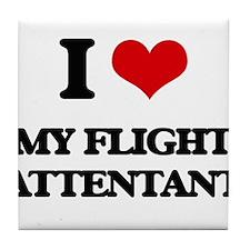 I Love My Flight Attentant Tile Coaster