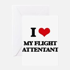 I Love My Flight Attentant Greeting Cards
