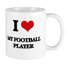 I Love My Football Player Mugs