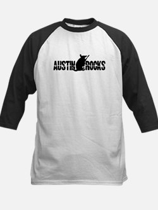 Austin Armadillo Rocks Guitar Kids Baseball Jersey