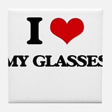 I Love My Glasses Tile Coaster