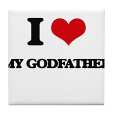 I Love My Godfather Tile Coaster