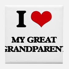 I Love My Great Grandparent Tile Coaster
