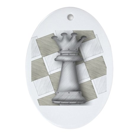 Chess The Most Poweful Piece Oval Ornament