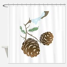 Winter Pine Cone Shower Curtain