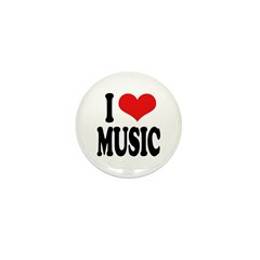 I Love Music (word) Mini Button (100 pack)