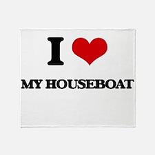 I Love My Houseboat Throw Blanket