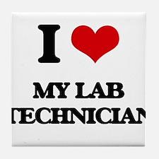 I Love My Lab Technician Tile Coaster