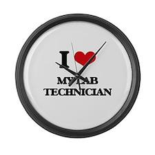 I Love My Lab Technician Large Wall Clock