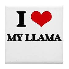I Love My Llama Tile Coaster