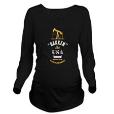 Bakken Oil Dark Long Sleeve Maternity T-Shirt