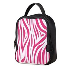 Pink Zebra Print Neoprene Lunch Bag
