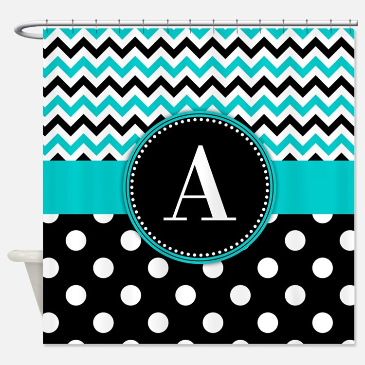 Turquoise Chevron Polka Dot Shower Curtain