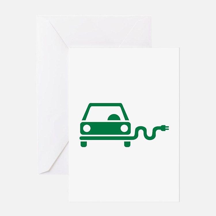 Green electric car Greeting Card