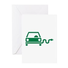Green electric car Greeting Cards (Pk of 10)