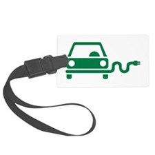 Green electric car Luggage Tag