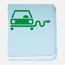 Green electric car baby blanket