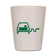 Green electric car Shot Glass