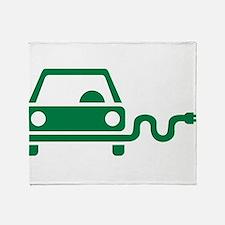 Green electric car Throw Blanket