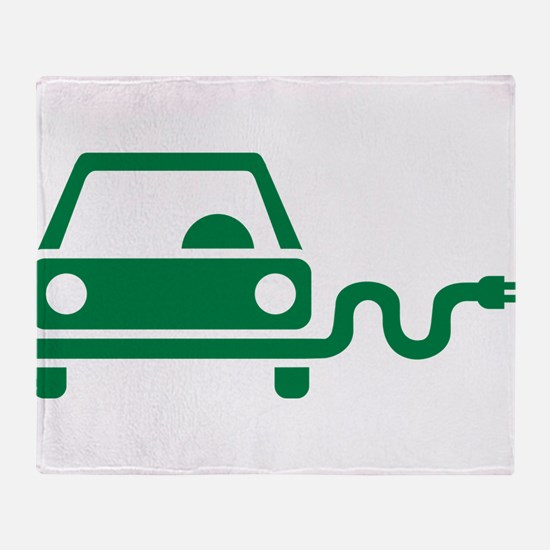Green electric car Throw Blanket