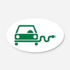 Green electric car Oval Car Magnet