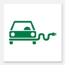 "Green electric car Square Car Magnet 3"" x 3"""