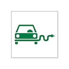 "Green electric car Square Sticker 3"" x 3"""