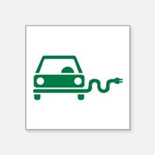 "Green electric car Square Sticker 3"" x 3"""