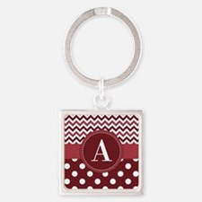 Wine Chevron Polka Dot Square Keychain