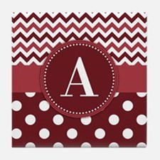Wine Chevron Polka Dot Tile Coaster