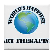 World's Happiest Art Therapist Tile Coaster