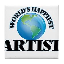 World's Happiest Artist Tile Coaster