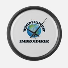 World's Happiest Embroiderer Large Wall Clock